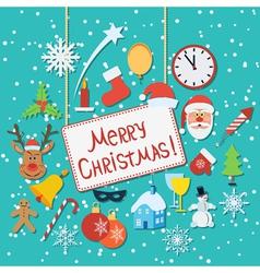 Christmas flat wallpaper vector image