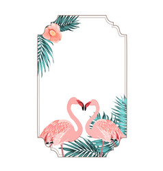 exotic tropical border frame flamingo birds heart vector image vector image