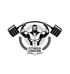 fitness center emblem with athletic man vector image