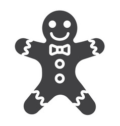 gingerbread man glyph icon new year and christmas vector image