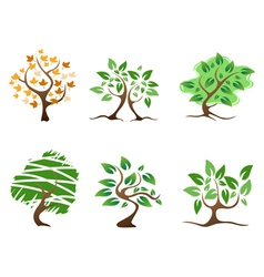 green abstract tree icon vector image vector image