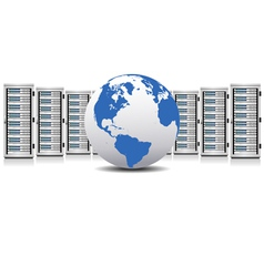 Network Servers with Globe vector image vector image