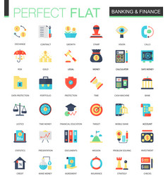set of flat banking finance icons vector image