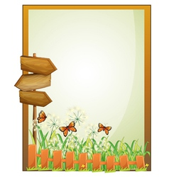 A framed empty signage with wooden arrowboards vector image