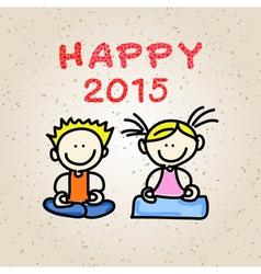 cartoon happy people meditation vector image