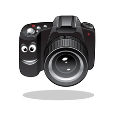 Cute cartoon DSLR or digital camera vector image vector image