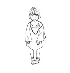 Doodle drawing little poor girl vector