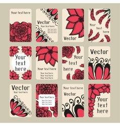 Set of business cards with doodling flowers vector image vector image