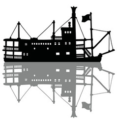 the black silhouette of a vintage steamboat vector image