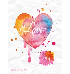 Watercolor Valentines Day Heart vector image