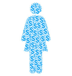 woman person collage of dollar vector image