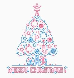 Christmas tree line style vector
