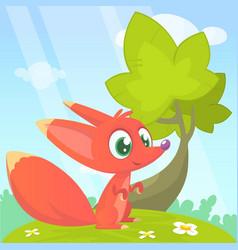 cute cartoon fox character vector image vector image