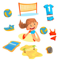 girl playing with a ball at beach volleyball set vector image vector image