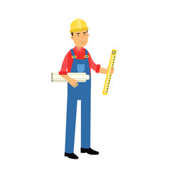 male construction worker character holding paper vector image