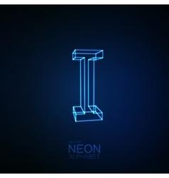 Neon 3D letter I vector image