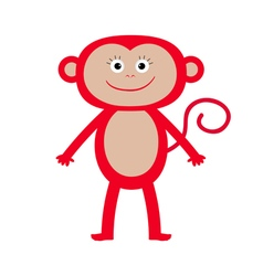 Cute red monkey Isolated Baby White background vector image vector image