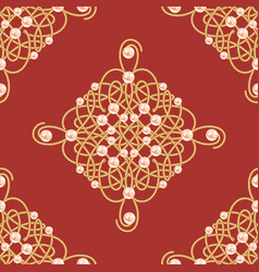 elegant golden knot sign red and golden seamless vector image vector image
