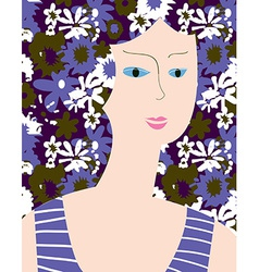 Fashion card with woman flower dress vector image