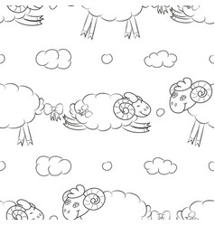 funny sheep flying in the clouds vector image