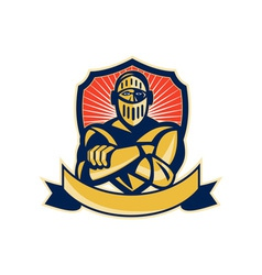 knight arms crossed with shield vector image vector image