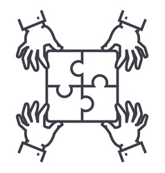 puzzle piecesstrategy line icon sign vector image