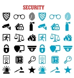 Security and protection flat icons set vector image vector image