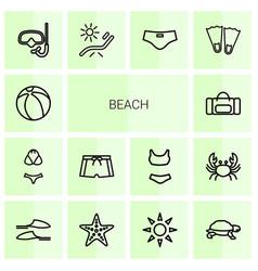 14 beach icons vector