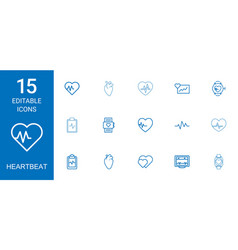 15 heartbeat icons vector