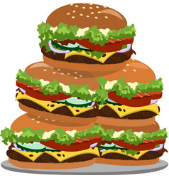 A lot of hamburgers on a plate vector