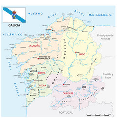 administrative map galicia spain vector image