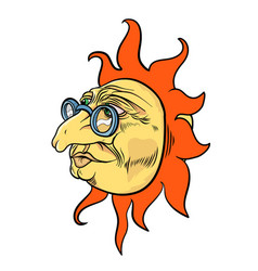 Aged sun character vector