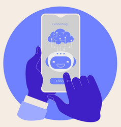 artificial intelligence in mobile phone concept vector image
