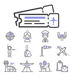 Aviation icons set airline outline graphic vector