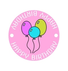 Badge colored sticker with balloons and vector image