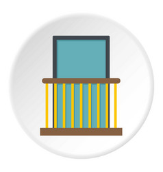 balcony with yellow fencing icon circle vector image
