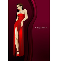 beautiful girl in red long dress bottom of a dark vector image