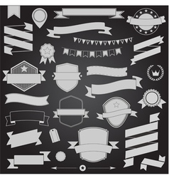 Big set retro design ribbons and badge vector image