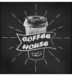 Blackboard with coffee cup sketch vector