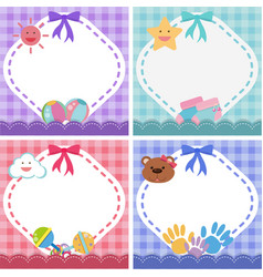 Border template with baby theme in four colors vector
