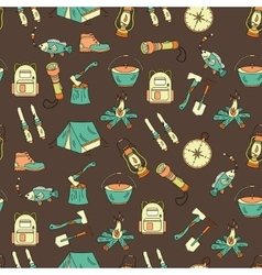 Camping holiday seamless pattern vector