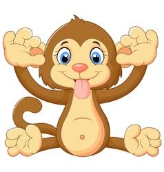 Cartoon monkey making a teasing face vector