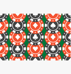 casino chips seamless pattern top view vector image