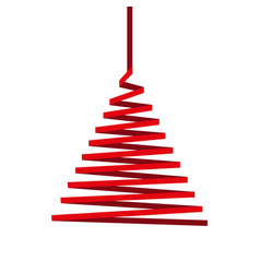 christmas tree made of red ribbon isolated on whit vector image