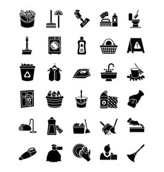 Cleaning and maid glyph icons vector