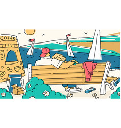 Couple resting on the shore vector