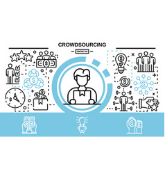Crowdsourcing concept background outline style vector