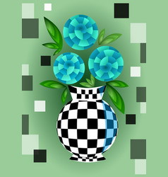 Cubist bouquet with blue flowers in checker vector