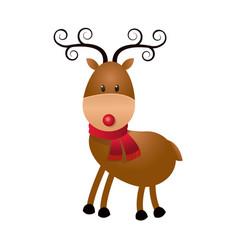 Cute cartoon deer horns scarf christmas image vector