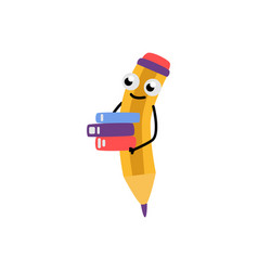 cute yellow pencil character vector image